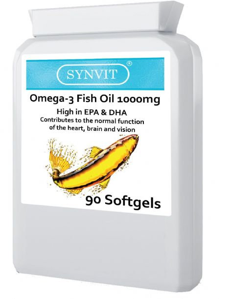 Omega 3 Fish Oil 1000mg Capsules x 90 Heart, Brain, Eyes Synvit